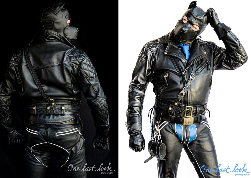 One photo: Man in full leather jacket and chaps (with blue codpiece and tie), with pup hood
