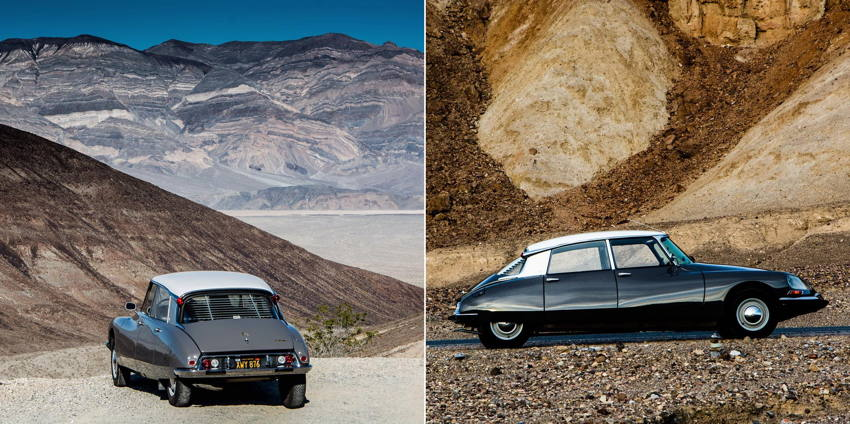 Slate-grey Citroën DS parked in foothills and seen in profile among burnt-ochre mountains
