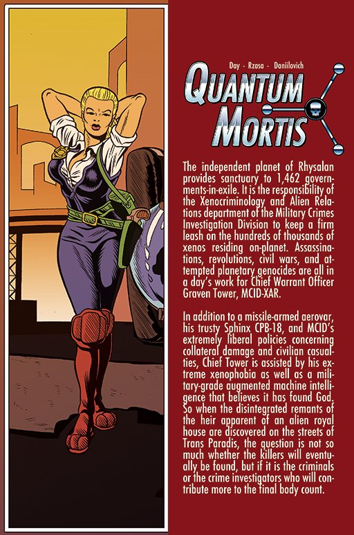 Comic-book page with sexy lady on left side, column of type on dark-red background on right