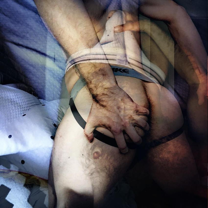 Collage of photos seems to highlight a hand on a jockstrapped arse