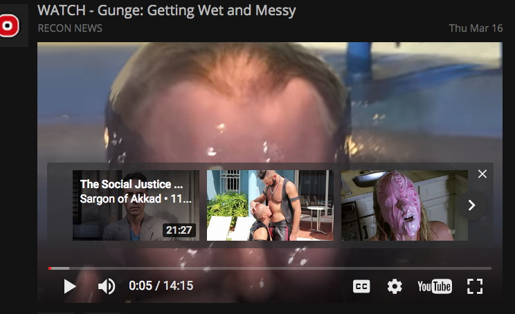 YouTube video suggestions for gunge video include Sargon of Akkad