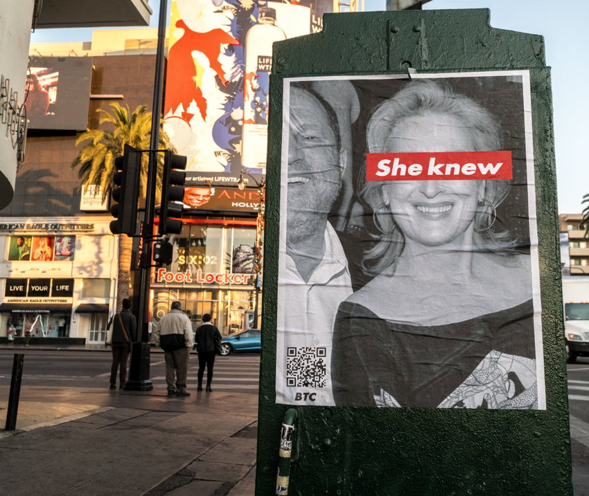 "Poster shows B&W photo of Weinstein and Streep, with Streep's eyes covered by ""She knew"" in white Futura on a red rectangle"