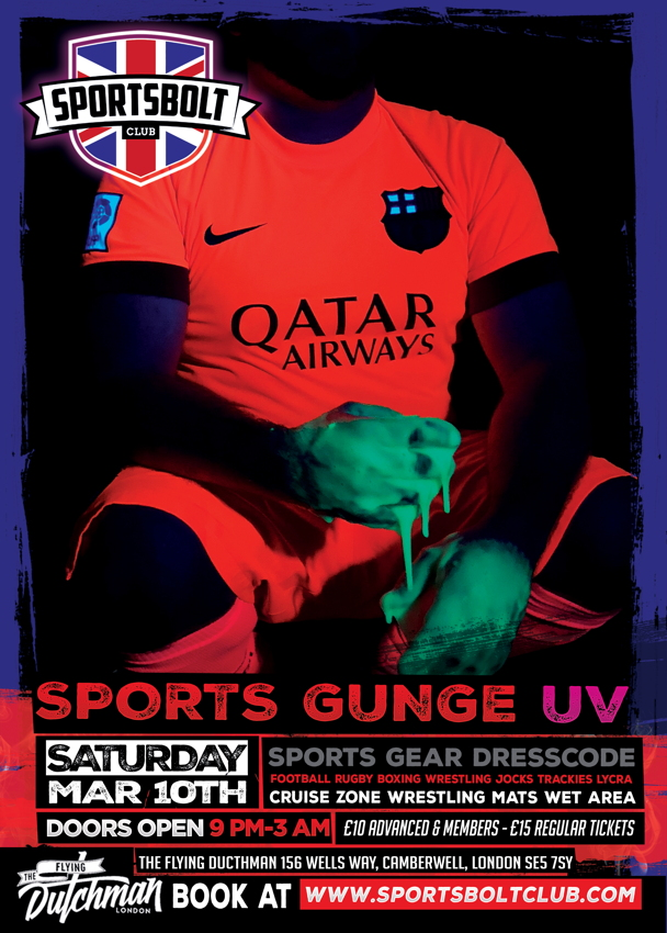 Gunge-party poster has man in sports-kit shirt and hands covered in luminous slime