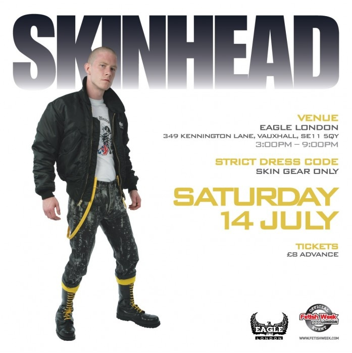 Giant headline SKINHEAD, skinhead dude composited onto white background, all-caps type