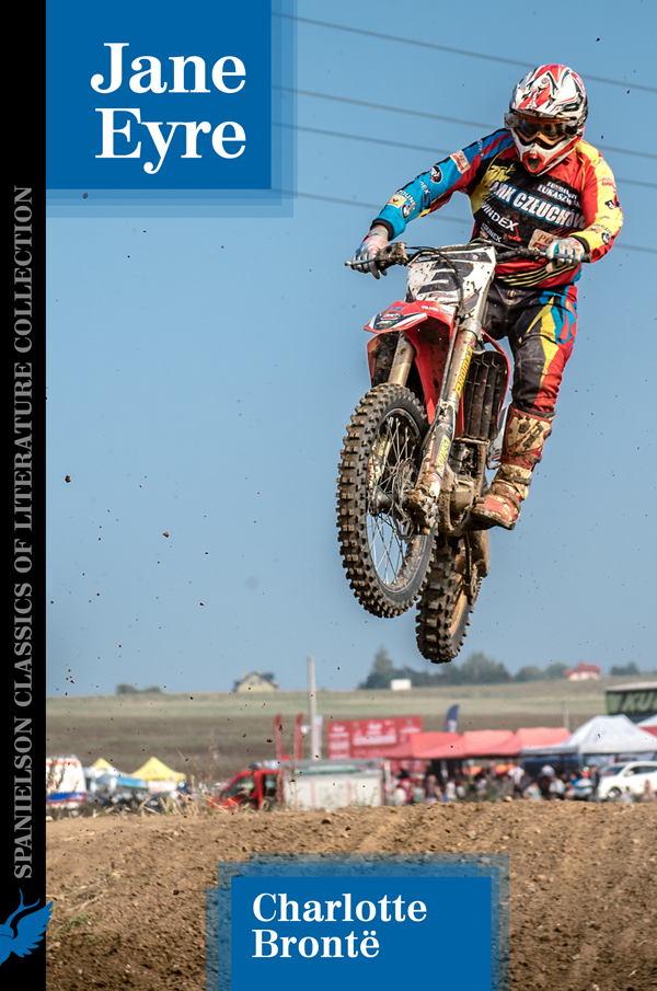 Book cover for 'Jane Eyre' by Charlotte Brontë shows motocross rider in mid-air jumping over a berm