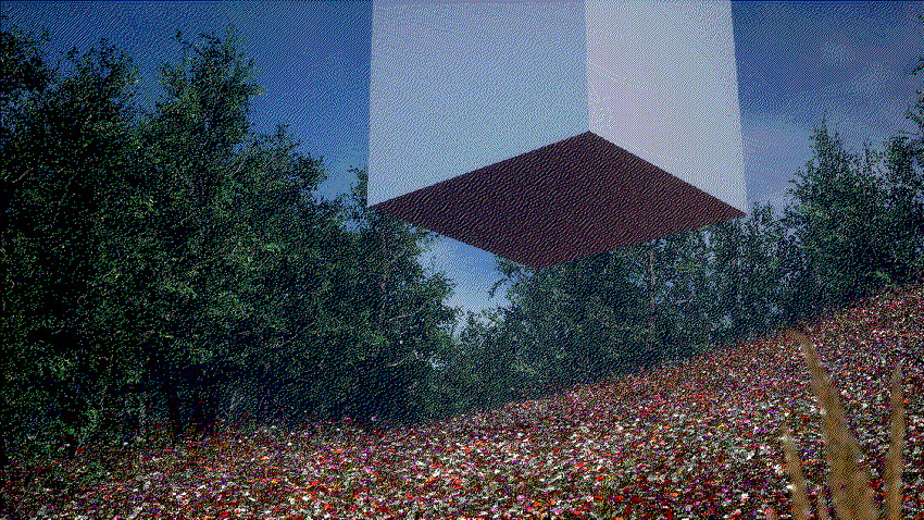 Pixelated cubic prism hovers over equally dithered flower meadow