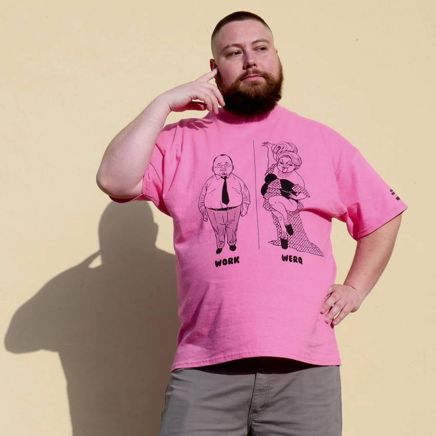 Fat bearded gay in hot-pink T-shirt: Japanese salaryman captioned WORK, drag queen captioned WERQ