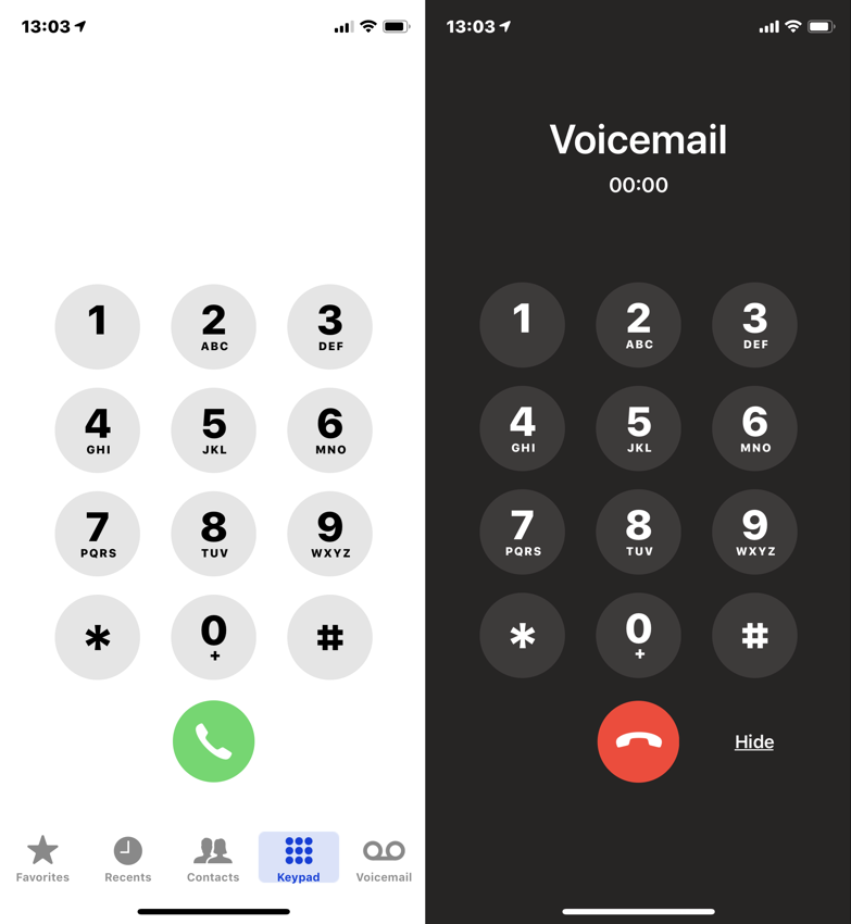 Light keypad, then dark keypad with Voicemail title