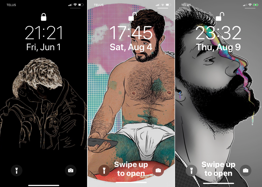 Three lock screens