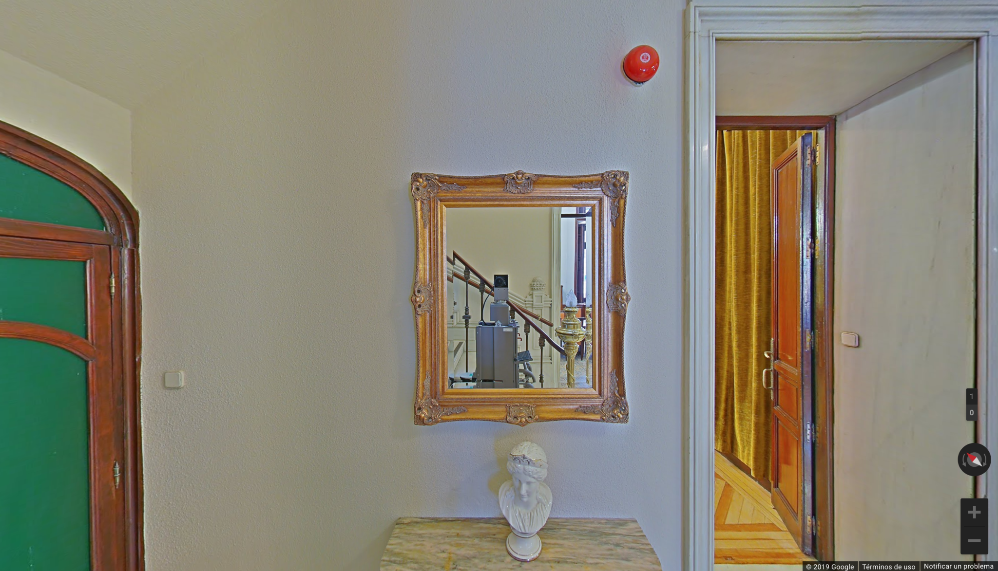 Robotic camera takes picture of itself in mirror at museum