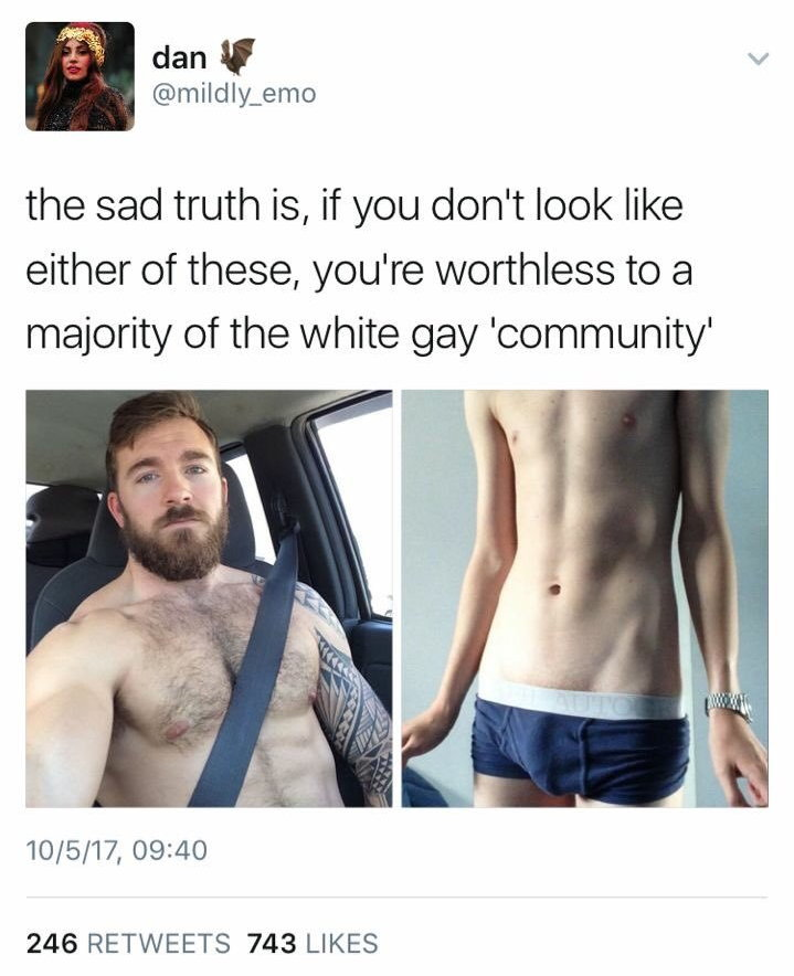 """Tweet"" by Mildly_Emo (no realtion): the sad truth is, if you don't look like either of these, you're worthless to a majority of the white gay 'community' """